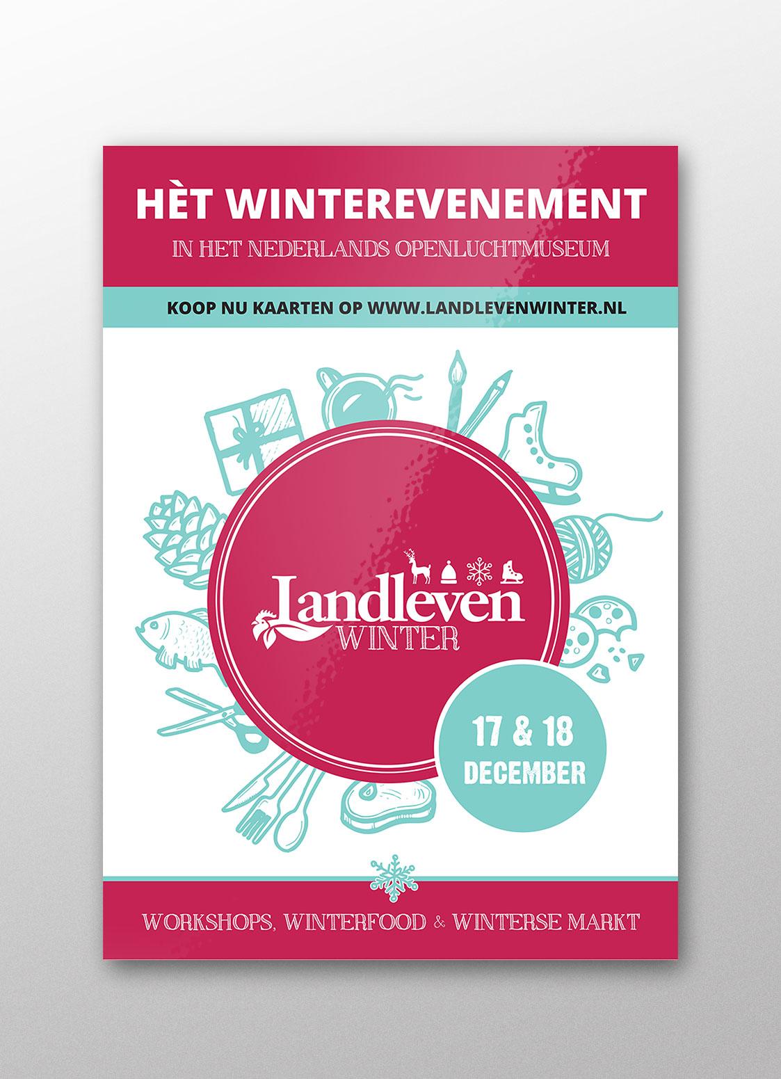 Poster | Landleven Winter in het Nederlands Openluchtmuseum